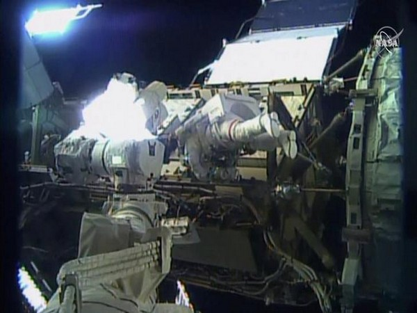 U.S. astronaut Jessica Meir walks outside the International Space Station (ISS), in this still image taken from NASA video on Friday