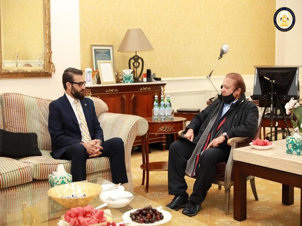 Afghan NSA Hamdullah Mohib and State Minister for Peace Sayed Sadat Naderi met with former Pakistani Prime Minister Nawaz Sharif (Photo Credit: NSC Afghanistan Twitter)