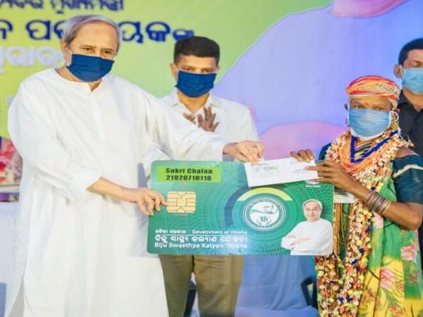 Odisha CM Naveen Patnaik distributes smart health cards (Photo/ANI)