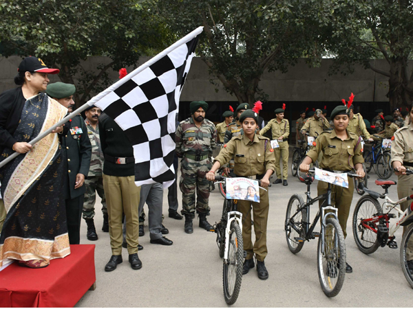 Haryana Chief Secretary Keshni Anand Arora flagging off the cycle rally in Chandigarh on Friday. Photo/ANI