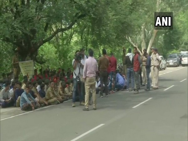 NCC cadre staging protest in Madhya Pradesh on Monday