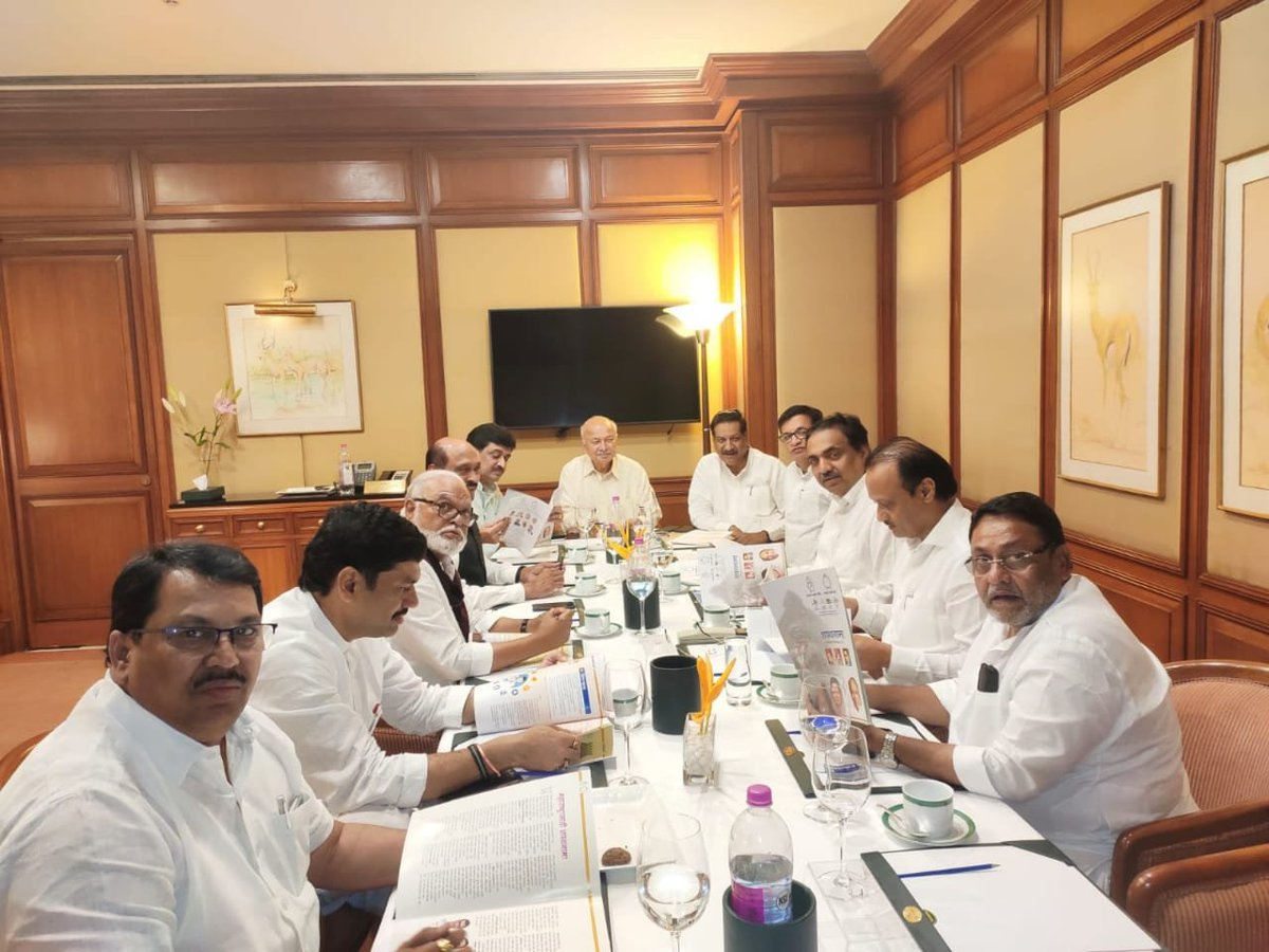 Visual from the Congress-NCP meeting underway in Mumbai on Wednesday. Photo/ANI