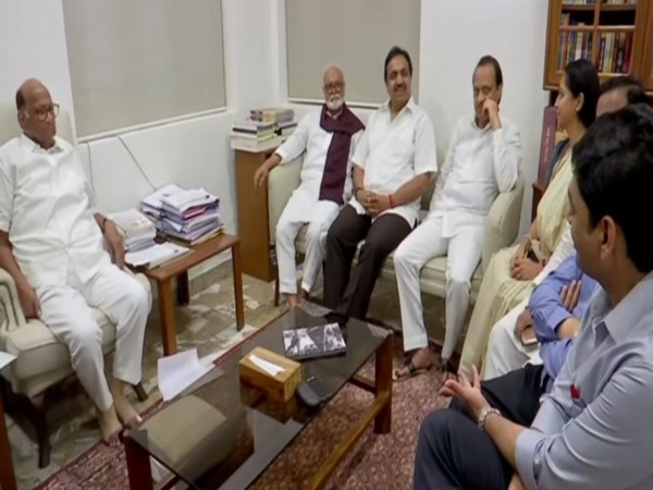 Senior NCP leaders hold a meeting at party chief Sharad Pawar's residence on Saturday to discuss farmers' plight after unseasoned rains affect crops. Photo/ANI