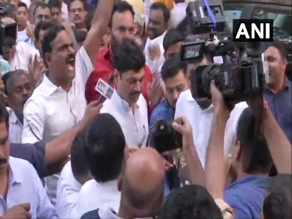 NCP leader Dhananjay Munde arrives at YV Chavan Centre for party meeting on Saturday evening. (Photo/ANI)