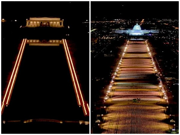 National Mall illuminated with pillars of light and