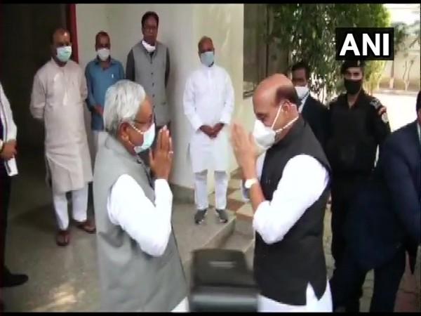 Janata Dal (United) chief Nitish Kumar and Defence Minister Rajnath Singh at the NDA's legislature party meeting on Sunday. [Photo/ANI]