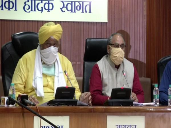 Avtar Singh (left) and Jai Prakash (right) addressing a press conference in New Delhi on Thursday.