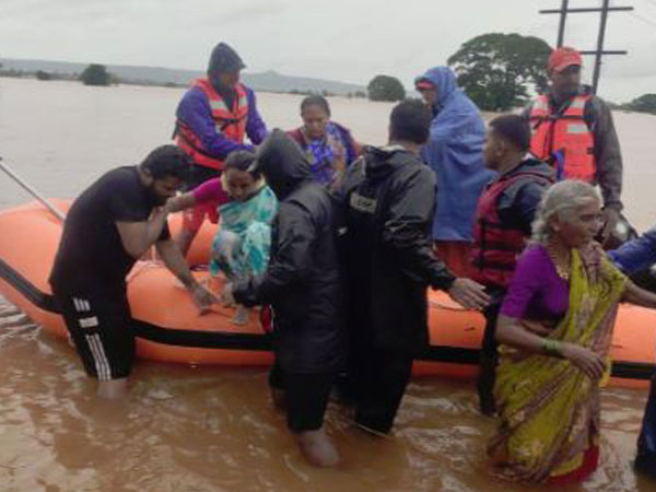 National Disaster Response Force carrying out rescue operations in Kolhapur on Tuesday. Photo/ANI