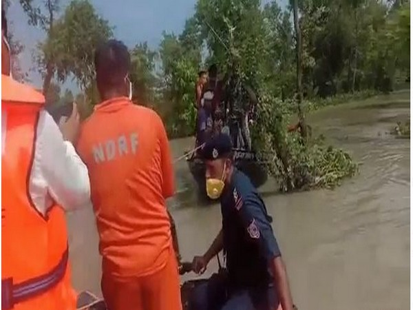 An NDRF team rescued a trapped country-made boat loaded with 40 people in Bihar's East Champaran district on Saturday.