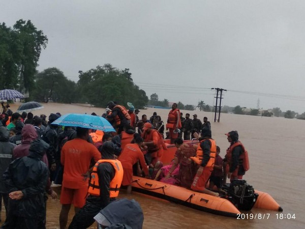 Visuals of NDRF rescuing people in Maharashtra.