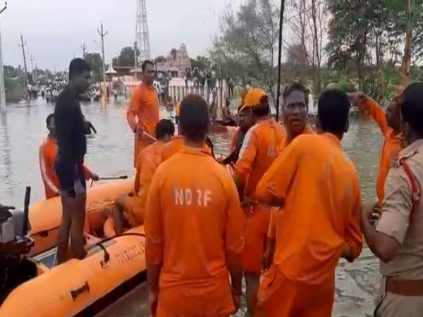 NDRF personnel rescuing people affected in floods in Chevitikallu village. (ANI)