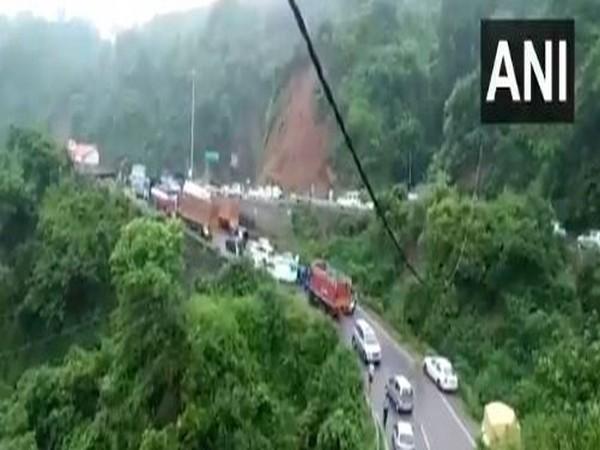 Shimla-Mataur National Highway blocked in Kangra on Monday. (Photo/ANI)