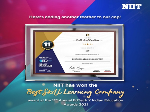 NIIT recognised as 'Best Skill Learning Company' at 11th Annual EdTech X Indian Education Awards 2021