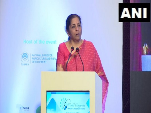 Finance Minister Nirmala Sitharaman addresses 6th World Congress on Rural and Agricultural Finance in New Delhi on Tuesday [Photo/ANI]