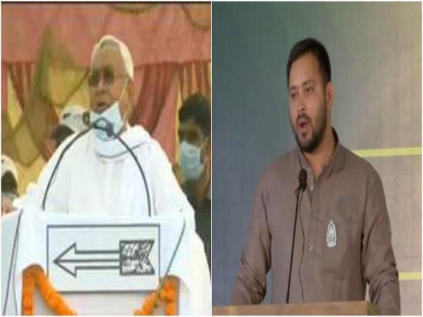 Bihar CM Nitish Kumar (left), RJD leader Tejashwi Yadav. (File Photo/ANI)