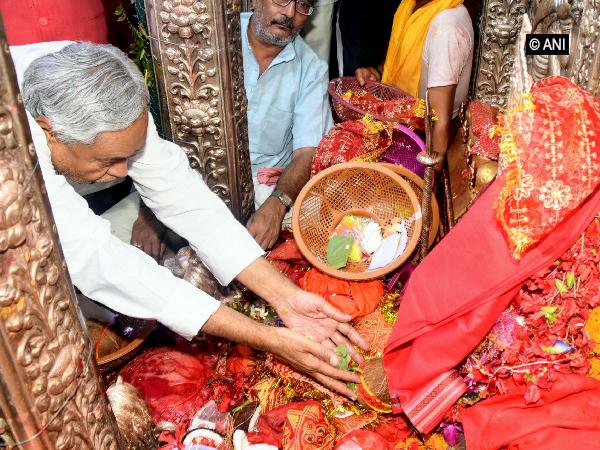 CM Nitish Kumar at the Badi Patan Devi temple in Patna on Sunday.