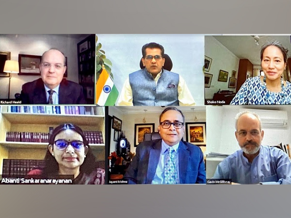 """Panelists speaking at the webinar releasing the UKIBC's Report """"Supporting India's Sustainable development Goals: The Socio-Economic Impact of UK businesses in India"""" with UNDP India and NITI Aayog"""