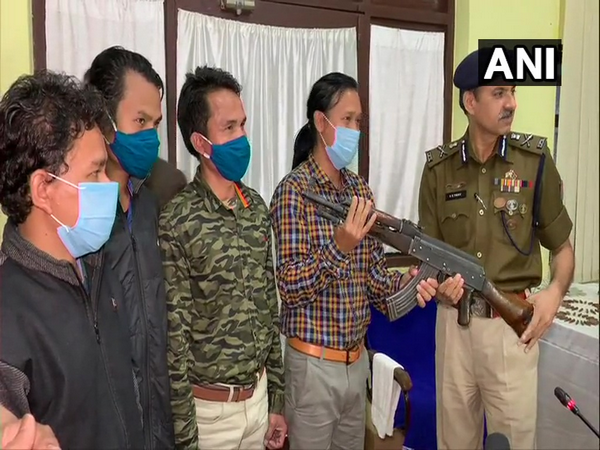 Four NLFT cadres surrendered before DGP VS Yadav at police headquarters in Agartala on Thursday.