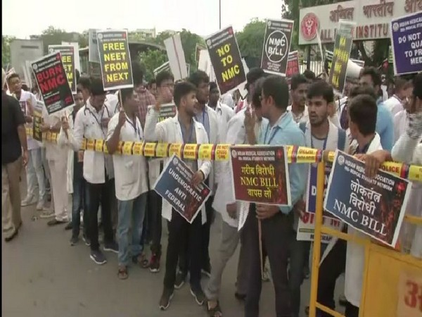 Doctors protesting against NMC bill outside AIIMS on Monday. Photo/ANI