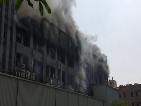 Fire at a  mattress factory in Gautam Buddh Nagar. (Photo/ANI)