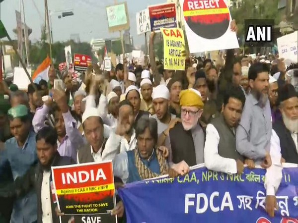 Protest against the Citizenship Amendment Act (CAA) and National Register of Citizens (NRC) in Kolkata on Friday.