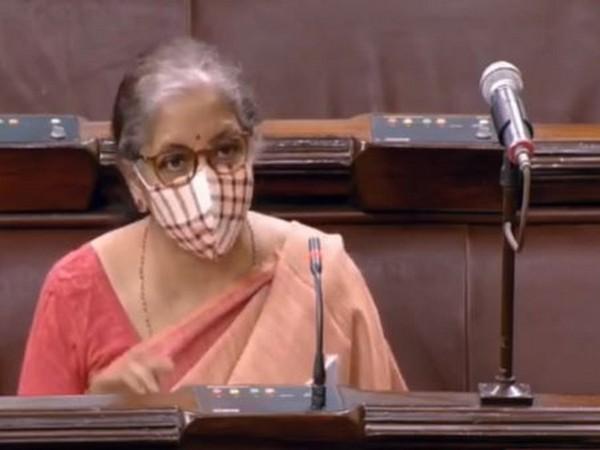 Corporate Affairs Minister Nirmala Sitharaman speaking in the Rajya Sabha on Tuesday.