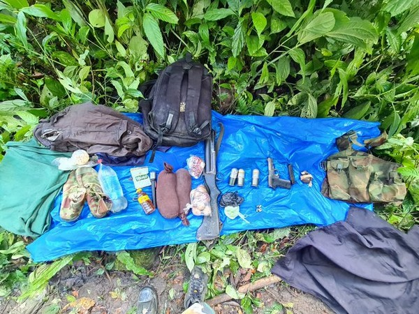 Arms and ammunition recovered from the neutralized NSCN (K-YA) cadre. Photo/Assam Rifles