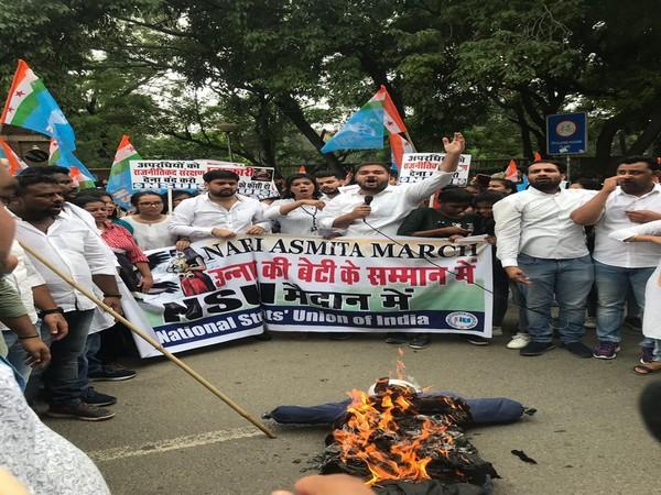 NSUI members during 'Nari Asmita' protest march in Delhi on Monday.