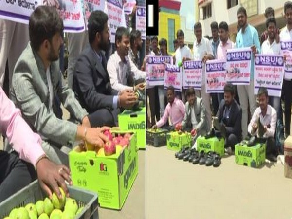 l Students'Union of India (NSUI) workers on Friday polished shoes and sold fruits at a bus stand in Shivamogga in Karnataka. Photo/ANI