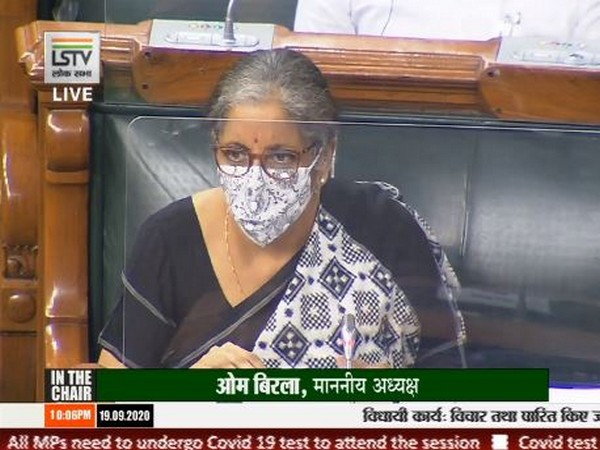 Union Corporate Affairs Minister Nirmala Sitharaman speaking in the Lok Sabha on Saturday [Photo/LS TV]