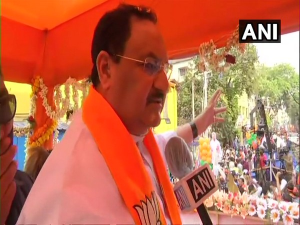 BJP chief JP Nadda speaking to ANI in Tollygunge on Monday.