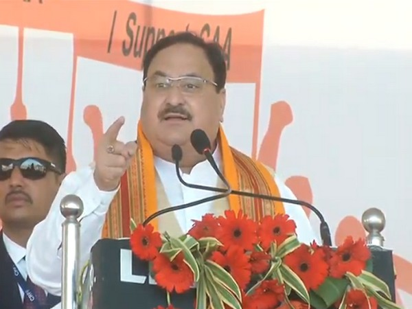 BJP president JP Nadda speaking at a public rally in Agra on Thursday. Photo/ANI