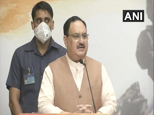 BJP President JP Nadda paying tribute to soldiers who fought in the Kargil war on Sunday. [Photo/ANI]