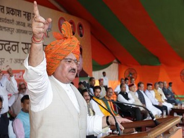 BJP working president JP Nadda speaking at a rally in Bilaspur on Monday. Photo/Twitter