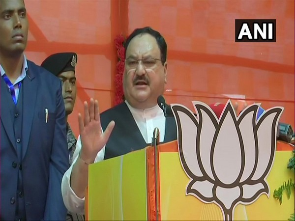 BJP chief JP Nadda addressing the party workers on Saturday. Photo/ANI