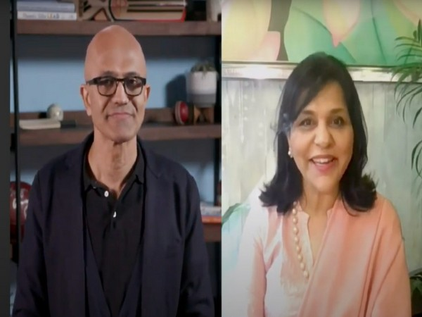 Microsoft CEO Satya Nadella (left) and FICCI President Dr Sangita Reddy (right) at AI and the New Digital World Ahead session at 93rd AGM of FICCI. Photo/ANI