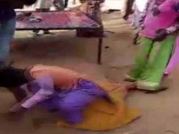Woman being assaulted in Nagaur, Rajasthan. Photo/ANI