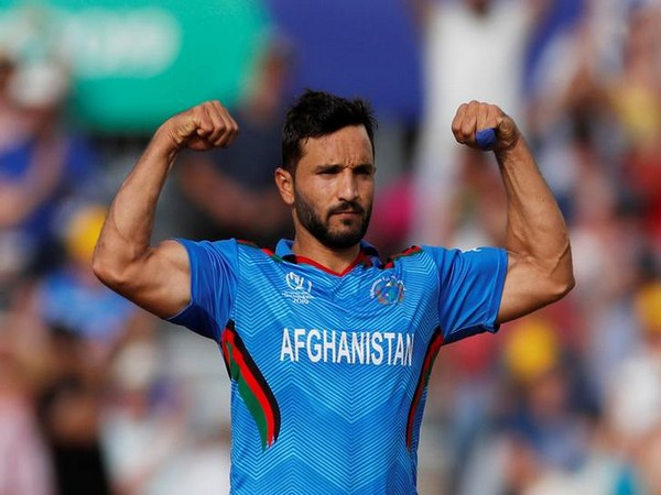 Afghanistan skipper Gulbadin Naib celebrating after taking wicket against India
