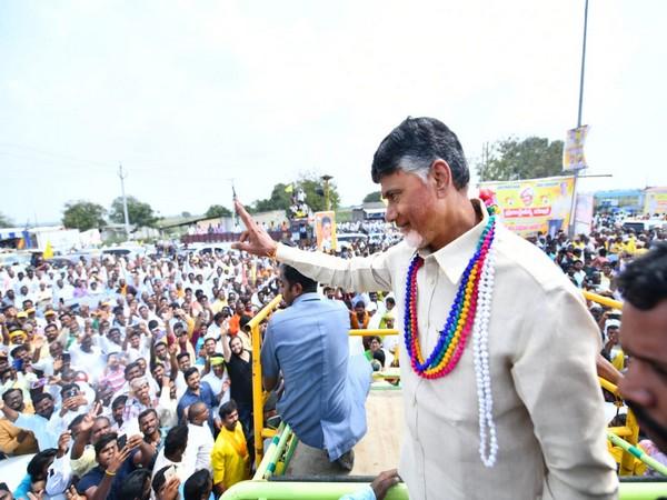 Telugu Desam Party (TDP) chief N Chandrababu Naidu during a public march in Andhra Pradesh's Prakasam district on Wednesday.