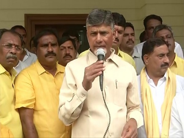 Former Andhra Pradesh Chief Minister N Chandrababu Naidu addressing reporters from his residence on Wednesday in Amravati. Photo/ANI