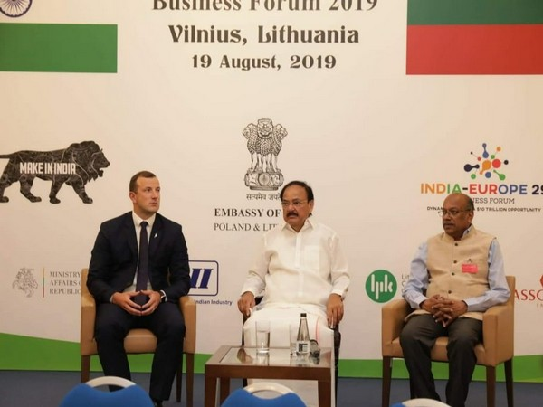 Vice President M Venkaiah Naidu at India-Lithuania Business Forum in Vilnius on Monday (Photo Credits: VP India Twitter)