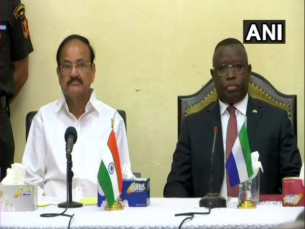 Vice President M Venkaiah Naidu and President of Republic of Sierra Leone Julius Maada Bio, at the State House in Freetown on Sunday.