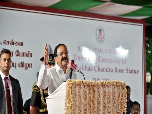 Vice President M Venkaiah Naidu speaking at the Raj Bhavan in Chennai on Thursday. Photo/Twitter (VP of India)