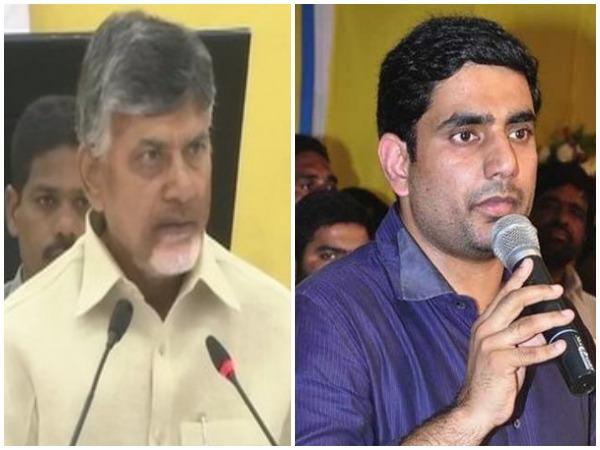 Andhra Pradesh Chief Minister N Chandrababu Naidu (left) and his son and  Information Technology Minister Nara Lokesh (right) File Pic