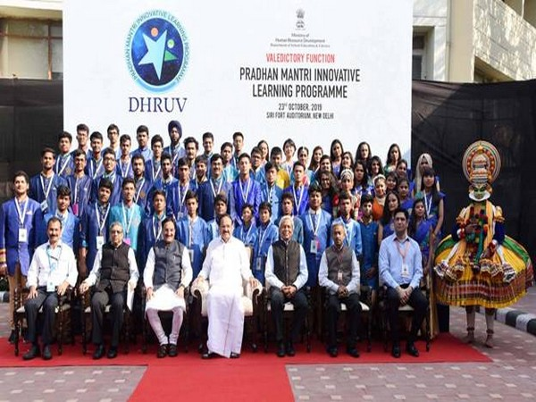 Vice President M Venkaiah Naidu with the meritorious students and other officials in New Delhi on Wednesday. Photo/PIB