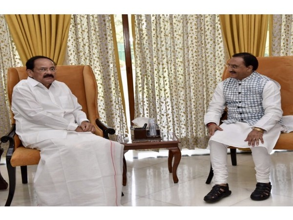 Union Minister for Human Resource Development, Dr. Ramesh Pokhriyal meeting with Vice-President Venkaiah Naidu. (Image courtsey: Twitter/VicePresidentofIndia)