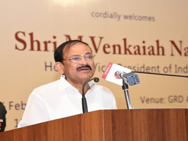 Vice President M Venkaiah Naidu addressing the students and staff of PSG Institutions in Coimbatore, Tamil Nadu, on February 21, 2020. Photo/ANI