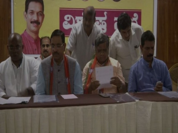 BJP state president Nalin Kateel, along with other party leaders during a meeting held in Hubli