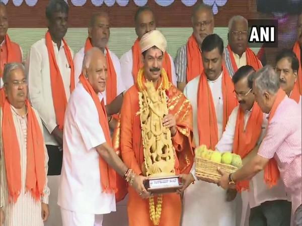 BJP MP Nalin Kumar Kateel with CM BS Yediyurappa in Bengaluru on Tuesday. Photo/ANI