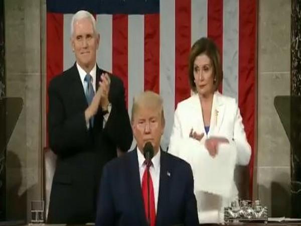 House Speaker Nancy Pelosi tearing President Donald Trump's address after his speech (File pic)